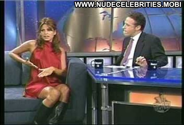 Eva Mendes The Daily Show With Jon Stewart Breasts Bra Black Boots