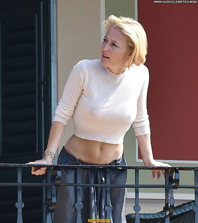 Gillian Anderson No Source Balcony Hotel Beautiful Bra Hot Posing Hot