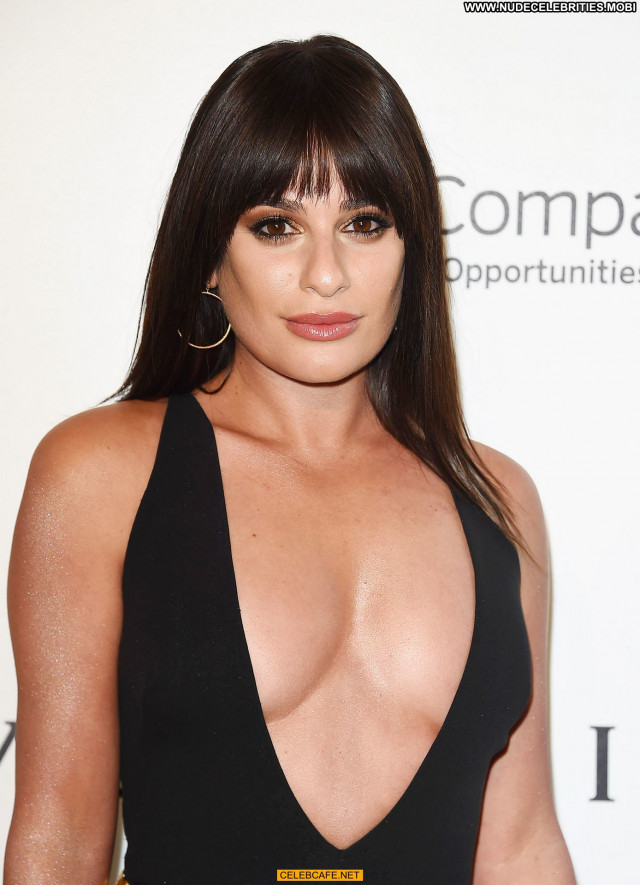 Lea Michele No Source Party Celebrity Posing Hot Nipple Slip