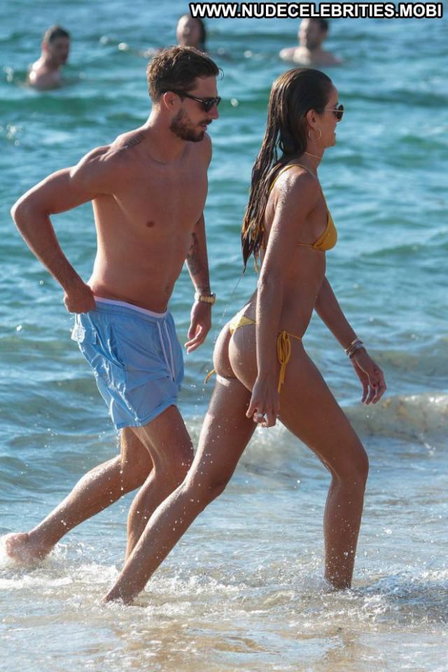 Izabel Goulart The Beach Posing Hot Bikini Babe Celebrity Beach